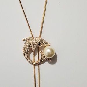 18K Gold & Austrian Stellux CZ Dolphin Necklace